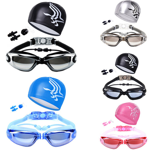 Swim Goggles with Hat Ear Plug Nose Clip Suit Waterproof Swim Glasses Anti-fog - Outdoor Panther
