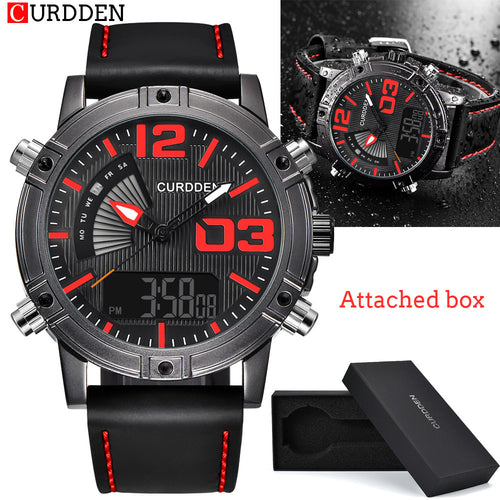 CURDDEN Fashion Army Quartz Watch Men Luminous Leather Band Sport Wristwatch - Outdoor Panther