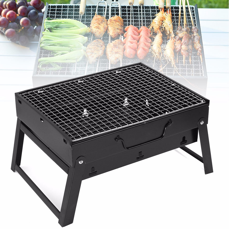 3-5 person Stainless Steel BBQ Barbecue Grill Compact Charcoal Outdoor Folding Portable - Outdoor Panther