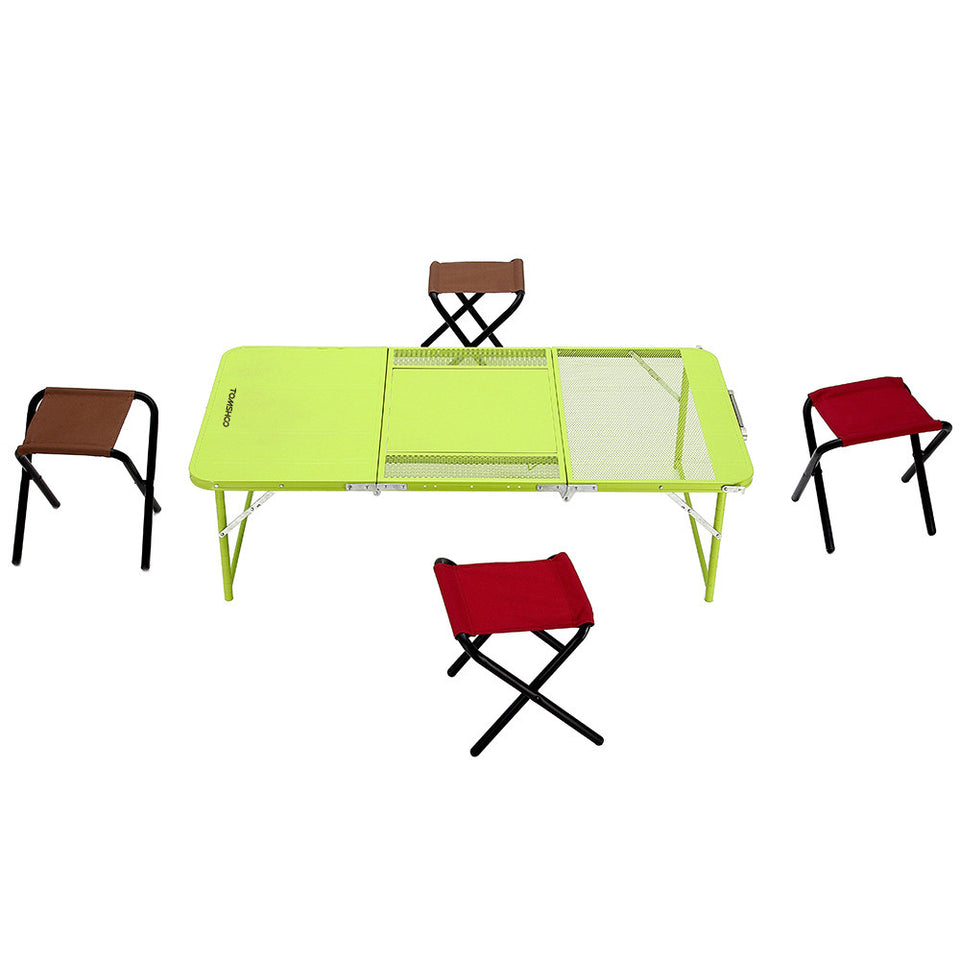 TOMSHOO Two Heights Mutifunctional Combo Folding Table Desk with Four Chairs Picnic Camping Festival - Outdoor Panther