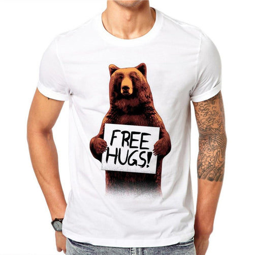 100% Cotton Cartoon Bear with Free Hugs White T shirt - Outdoor Panther