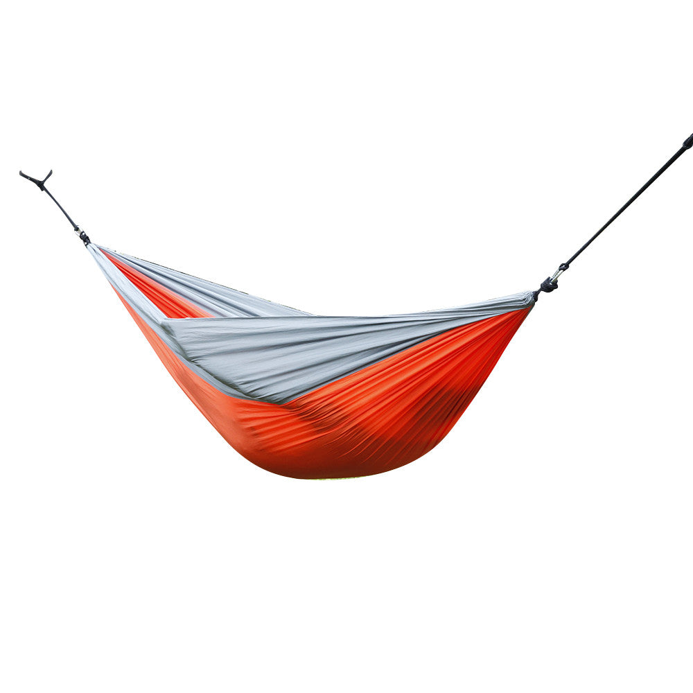 AT6737 Nylon Parachute Fabric Double Hammock Orange & Gray - Outdoor Panther