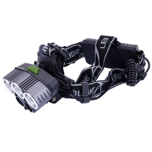 New Type 5-LED 5000LM 3 Modes White Light Aluminum Alloy LED Headlamp Black - Outdoor Panther
