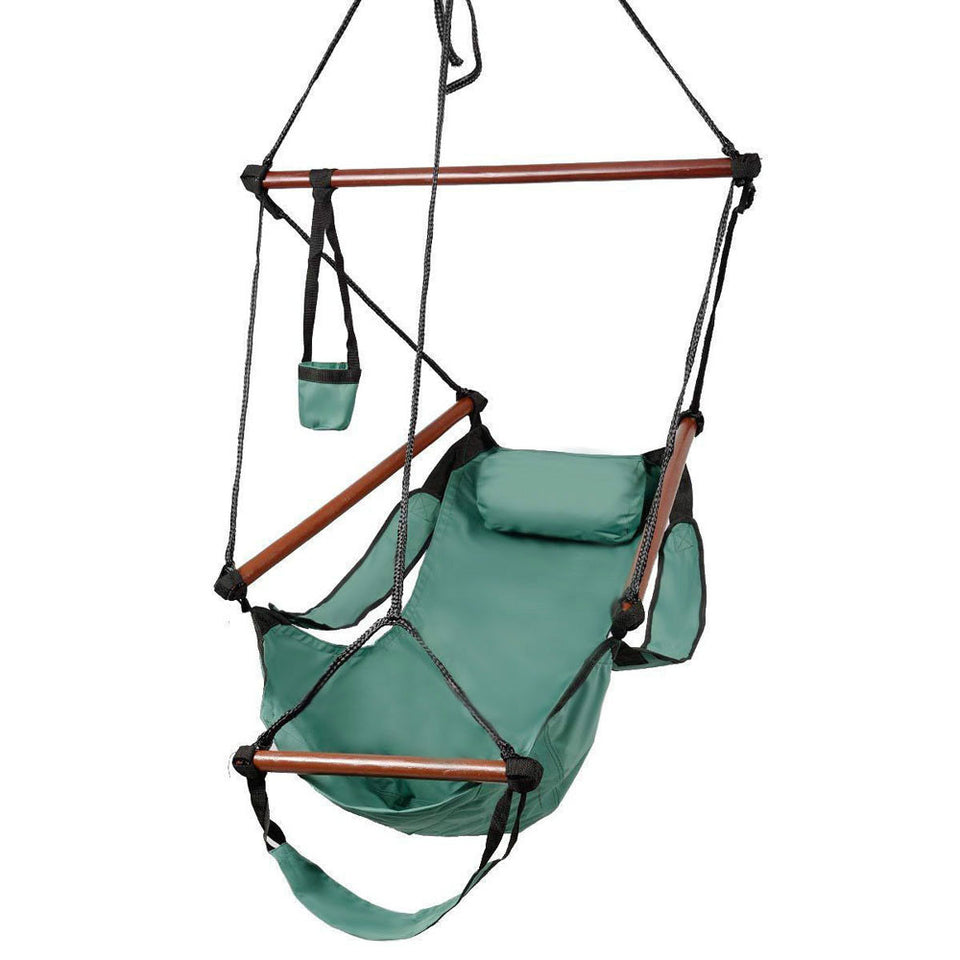 Deluxe Air Hammock Hanging Patio Tree Sky Swing Chair Outdoor Porch Lounge Green - Outdoor Panther