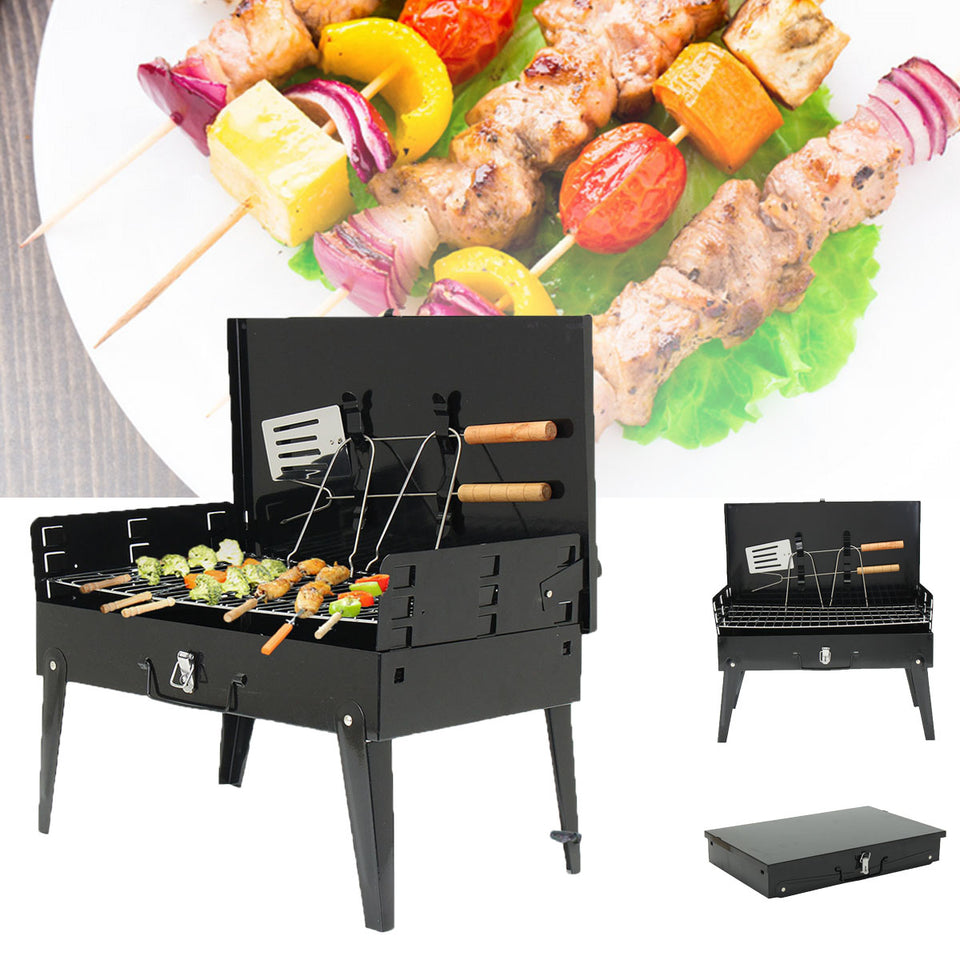 Portable Charcoal Barbecue BBQ Grill Outdoor Camping Foldable Stainless Steel - Outdoor Panther