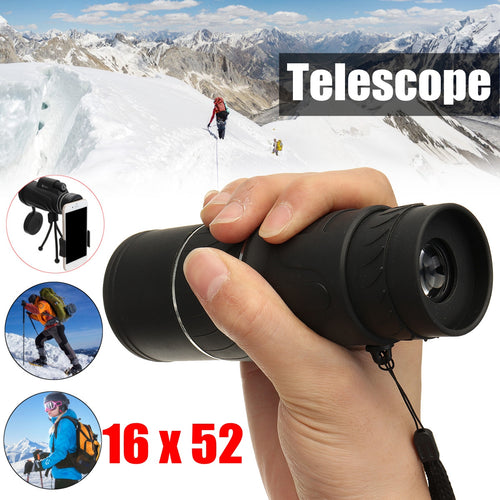 16x52 Monocular Telescope Lens Camera & Holder Clip & Hose Tripod - Outdoor Panther