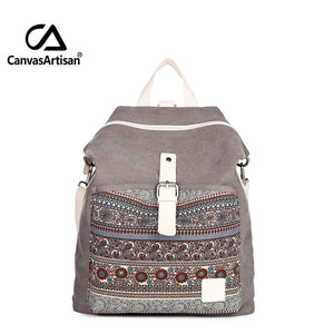 Top quality women canvas backpack  dual purpose shoulder bag daily travel backpacks cross body bags