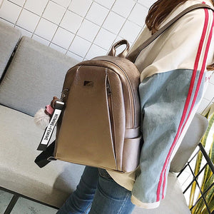 Fashion Gold Leather Backpack Women Black Vintage Large Bag
