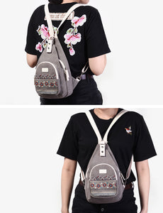 Canvas Shoulder Bag Retro Style Daily Travel Small Backpacks Bag Female Casual