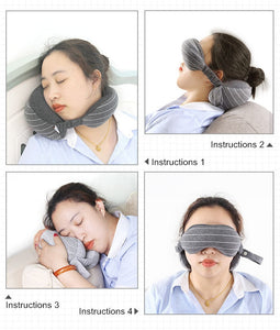 Multi-Function Business Travel Neck Pillow & Eye Mask & Storage Bag with Handle Portable