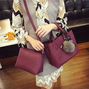 Leather Women Handbag Two Pieces