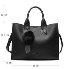 Load image into Gallery viewer, Women Leather Handbags Casual Tote bags Cross body Bag TOP-handle bag With Tassel and fluffy ball