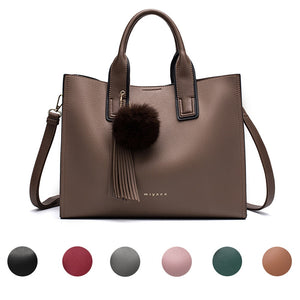 Women Leather Handbags Casual Tote bags Cross body Bag TOP-handle bag With Tassel and fluffy ball