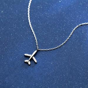925 Sterling Silver Necklace Jewelry Travel Plane Short Necklace