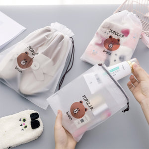 Brown Bear Transparent Cosmetic Bag Travel Makeup Case Women Zipper Make Up Bath Organizer Storage