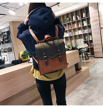 Load image into Gallery viewer, Vintage Women Backpack High Quality Leather Black Shoulder Bag Lady Multi function Backpack