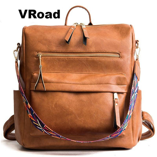 Retro Large Backpack Women Leather Travel Backpacks Shoulder School Bags