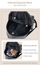 Load image into Gallery viewer, Fashion Gold Leather Backpack Women Black Vintage Large Bag