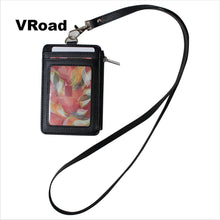 Load image into Gallery viewer, Style Badge Holder with Zipper PU Leather ID Card Neck Strap Lanyard Holder with 5 Card Slots