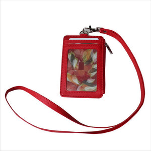 Style Badge Holder with Zipper PU Leather ID Card Neck Strap Lanyard Holder with 5 Card Slots