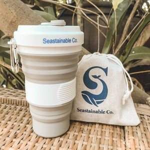 Each Seastainable Collapsible Cup comes with a small pouch made from 100% recycled linen.