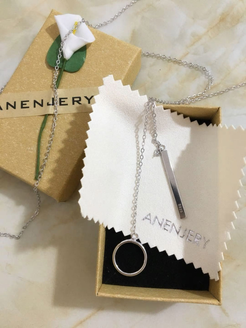 Anenjery Strip Long Chain Necklace,live-better-living,Silver Baroque,