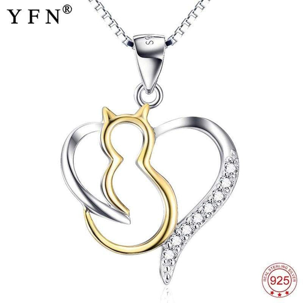 925 Sterling Silver Crystal CZ Cute Cat Love Heart Pendant Necklace,live-better-living,Silver Baroque,Jewelry