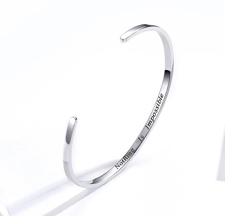 Nothing Is Impossible Bangle,live-better-living,Silver Baroque,