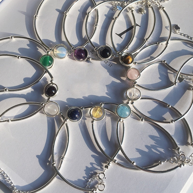 Natural Birthstone Silver Bracelet,live-better-living,Silver Baroque,