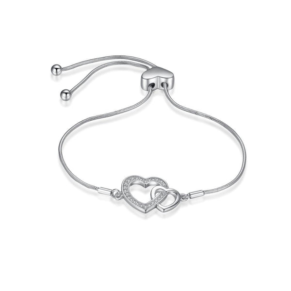 Two Hearts Bracelet,live-better-living,Silver Baroque,
