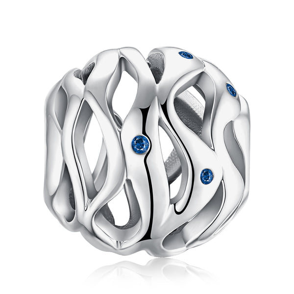 Waves Bead Charm,live-better-living,Silver Baroque,