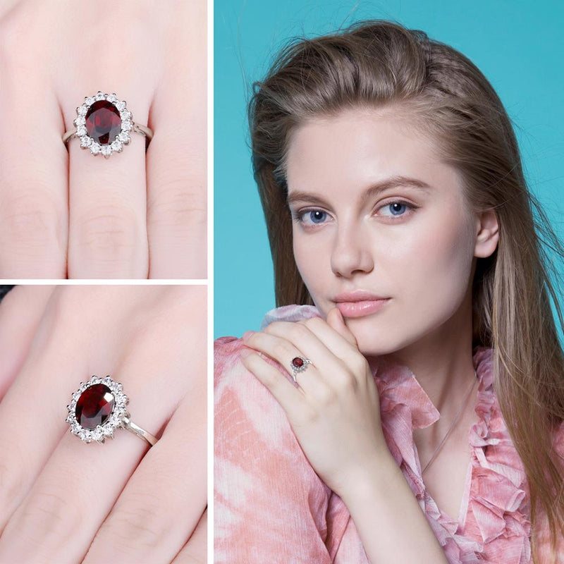 Princess Diana Genuine Garnet Ring,live-better-living,Silver Baroque,