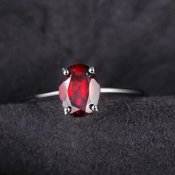Genuine Garnet Solitaire Ring,live-better-living,Silver Baroque,
