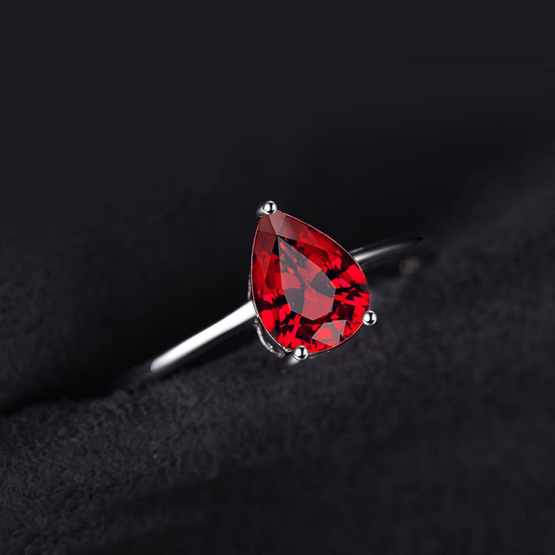 Genuine Garnet Solitaire Water Drop Ring,live-better-living,Silver Baroque,