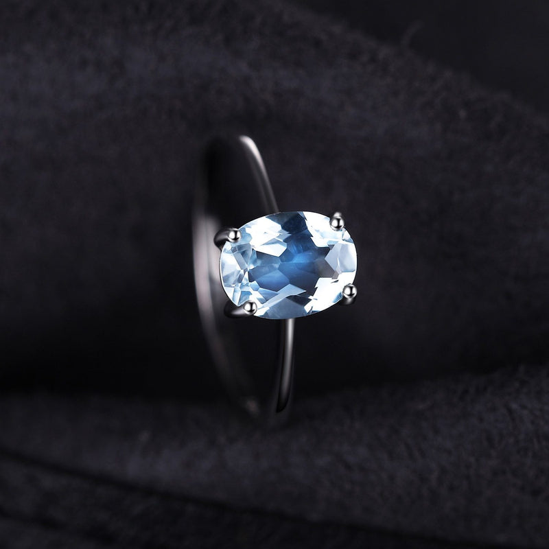 Blue Topaz Solitaire Ring,live-better-living,Silver Baroque,