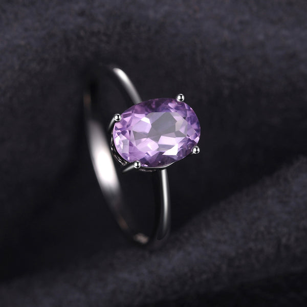 Genuine Amethyst Solitaire Ring,live-better-living,Silver Baroque,