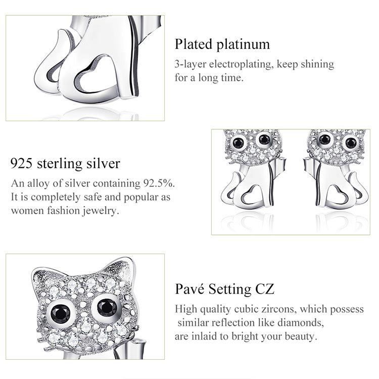 Cat Earrings,live-better-living,Silver Baroque,