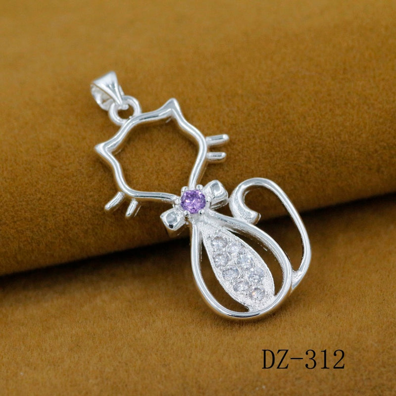 925 cats zircon silver plated pendant,live-better-living,Silver Baroque,