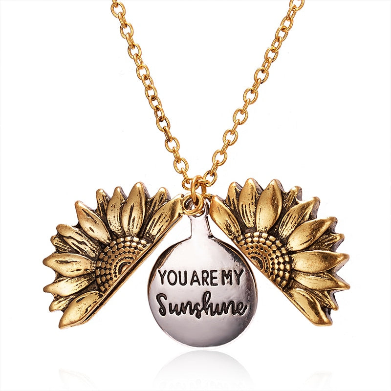 Sunflower Necklace Gold Custom,live-better-living,Silver Baroque,