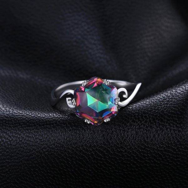 Genuine Rainbow Mystic Topaz Ring,live-better-living,Silver Baroque,