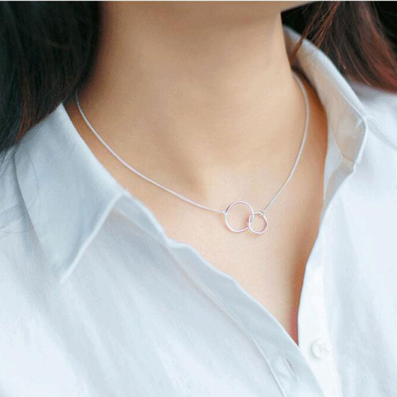 Double Circle Interlock Clavicle Short Necklace,live-better-living,Silver Baroque,