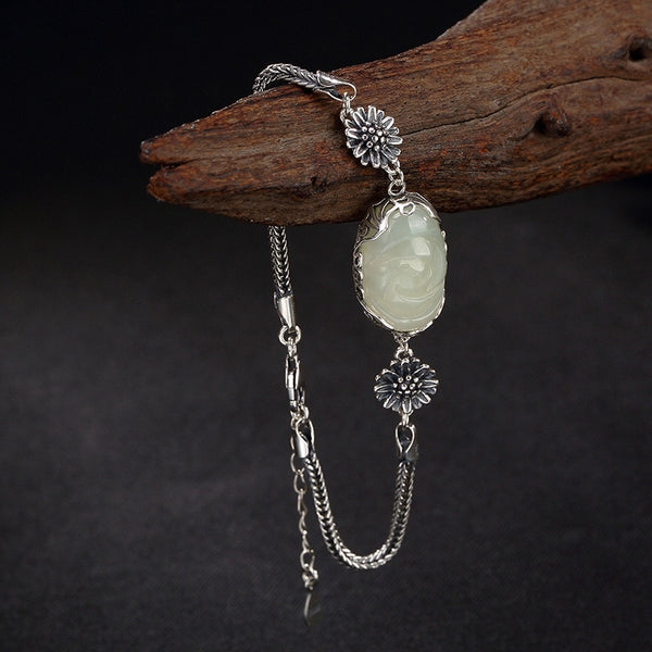 Sunflower And Natural Jade Silver Bracelet,live-better-living,Silver Baroque,