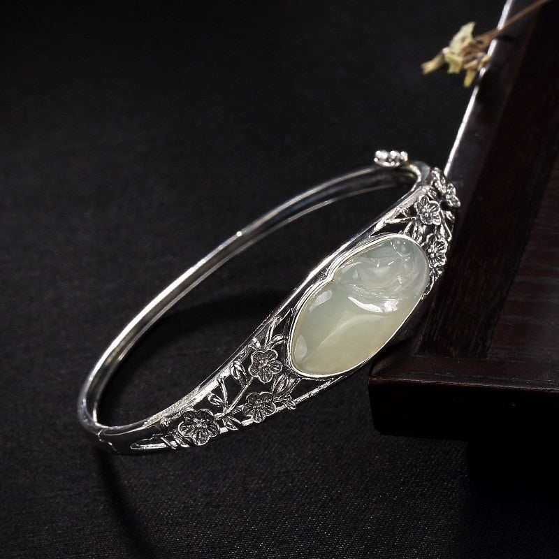 Jade Inlaid Natural Gemstone,live-better-living,Silver Baroque,