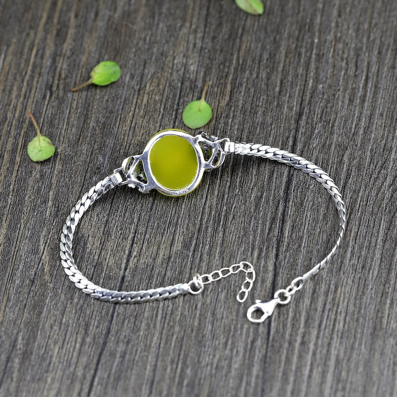 Natural Yellow Chalcedony Garnet Charm,live-better-living,Silver Baroque,