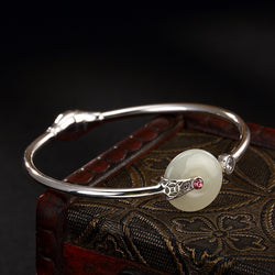Cuff Bangle With Jade Peace Buckle,live-better-living,Silver Baroque,