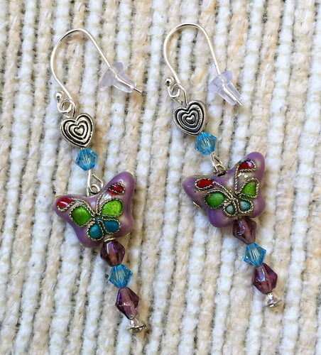 Flutterby Heart Earrings