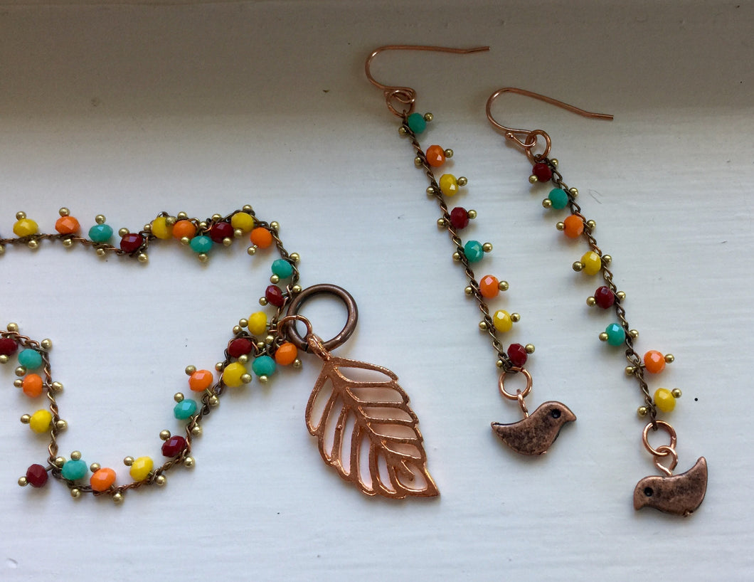 Copper Bird Earrings