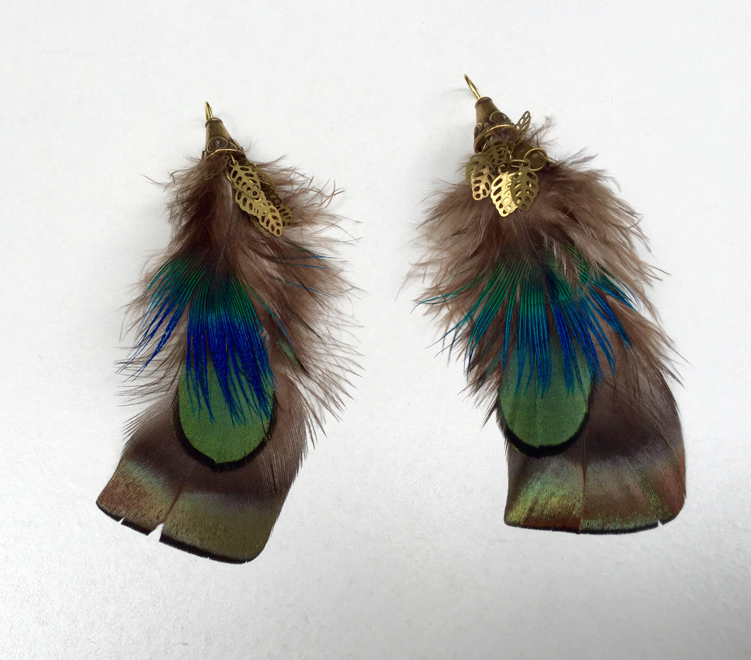 Shimmery Turkey Feather Earrings