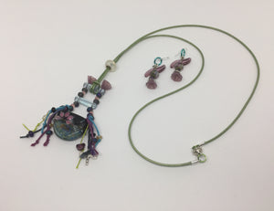 Waterfall Pond Pendant Necklace and Earrings