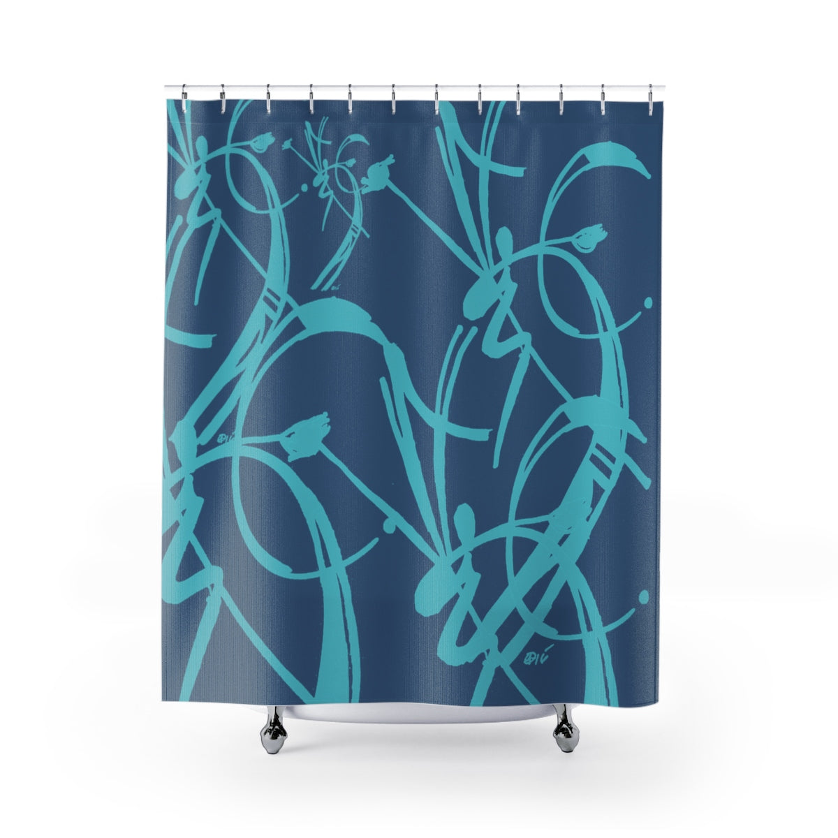 A Prime Posey Shower Curtain Teal on Smoke Blue